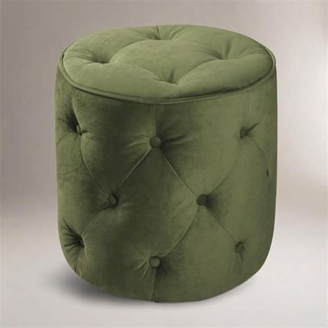 green tufted velvet ottoman fabric by world market