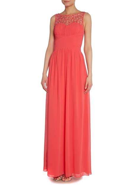 beaded top dress pink beaded top maxi dress lyst