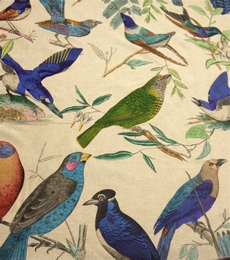 curtain fabric with bird print aviary illustration brilliant birds hand print on linen