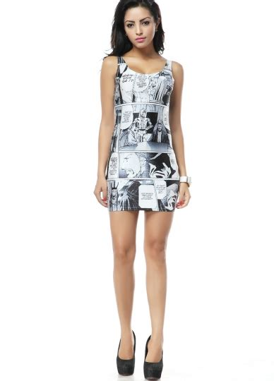 funny cartoon print mini sleeveless dress sleeveless dresses  girls
