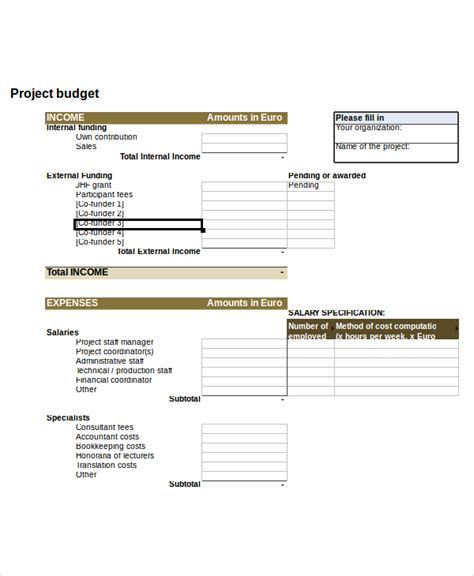Project Budget Template Free Download