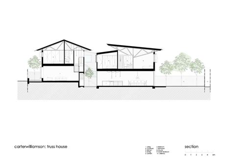 truss section truss house carterwilliamson architects archdaily