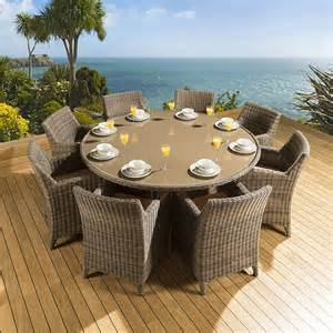 Patio Dining Table Set For 8 Rattan Garden Outdoor Dining Set Table 8 Chairs
