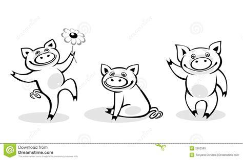 black white pigs stock vector illustration artistic 2902585