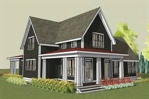 rear image of simple farmhouse plan with wrap around porch simple country house plans with photos