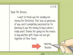 how to write a thank you note for money with sle thank
