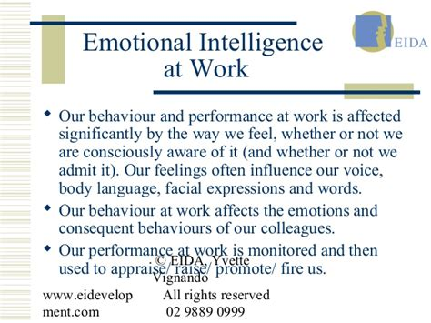 Emotional Intelligence At Work emotional intelligence career development workplace communication