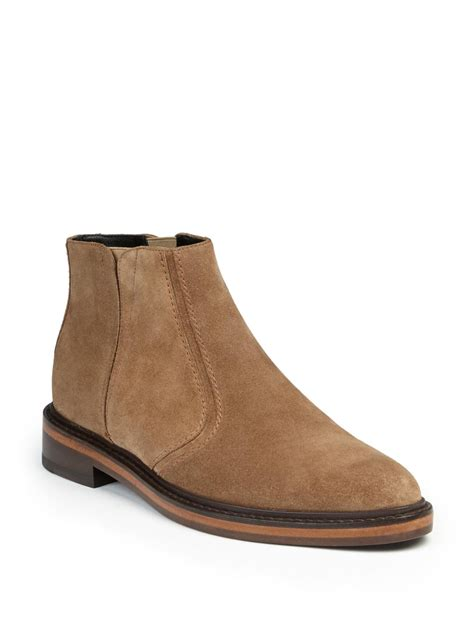 lanvin suede ankle boots in brown lyst