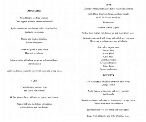 turf room lunch menu iberostar resorts menus