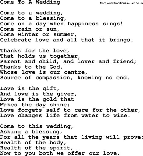 What Is Wedding by Wedding Hymns And Songs Come To A Wedding Txt Lyrics