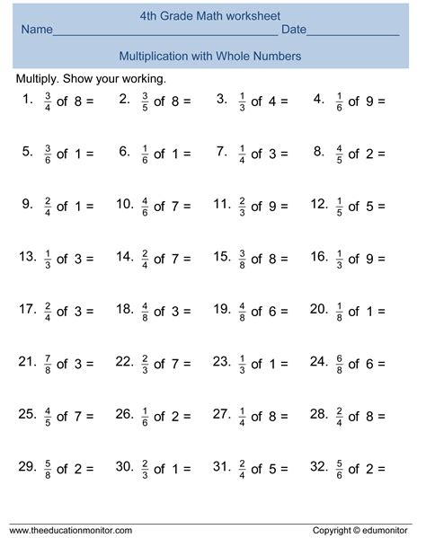 Free Printable Worksheets 4th Grade by Printable Worksheets For 4th Grade Math Kelpies