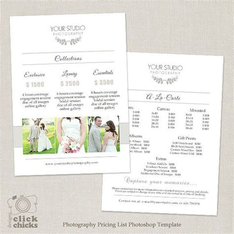 185 Best Marketing Photoshop Templates For Photographers Images On Pinterest Role Models Wedding Pricing Template