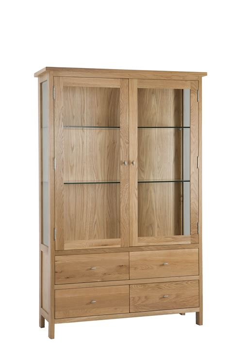 balmain light solid oak 4 drawer display cabinet