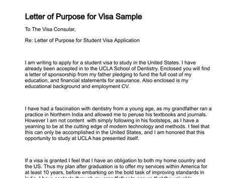 Commitment Letter Visa Letter Of Purpose
