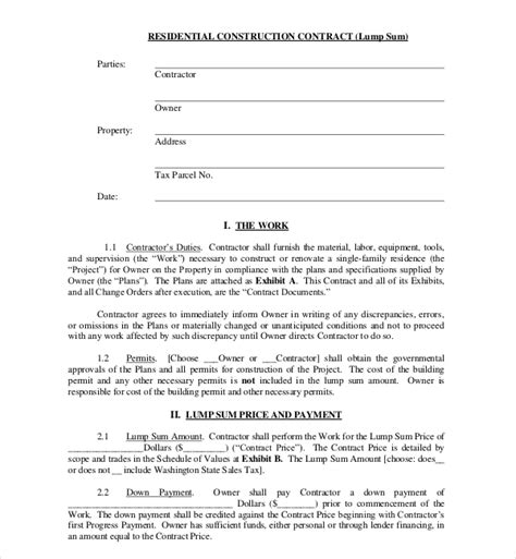 10 Sle Construction Contract Forms Sle Forms Construction Contractor Contract Template