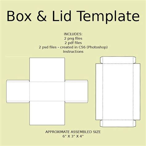 printable box template with lid digital rectangle box lid templates png