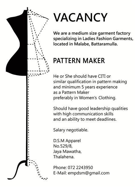 pattern maker male job vacancy in sri lanka pattern maker job vacancy in sri lanka