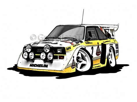 cartoon audi audi quattro s1 e2 group b rally car cartoon caricature
