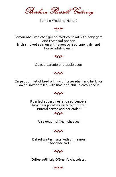 menus for wedding