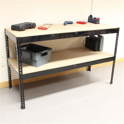 shed work bench 1 5m black heavy duty steel work bench station shelves for