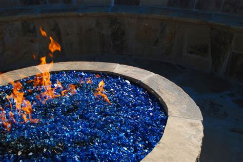 up of pit with blue glass rocks tropical