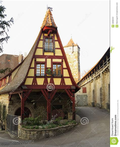ob house fachwerkhaus old smithy in rothenburg stock photo image 40090161