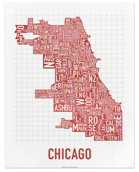 chicago neighborhood map poster chicago neighborhood 11 x 14 spicy poster city