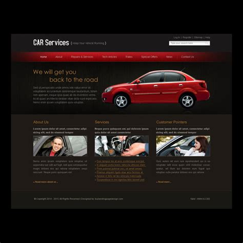 Car Service Easy To Edit Website Template Design Psd Car Service Website Template