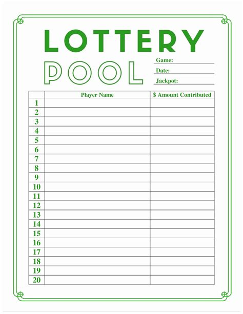 Lottery Pool Spreadsheet Template Inspirational Baby Pool Template Documents Ideas Documents Office Lottery Pool Contract Template
