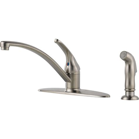 kitchen faucet lowes shop delta foundations stainless 1 handle deck mount low