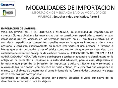 modalidades de importacion 2016 modalidades de importacion parte 3