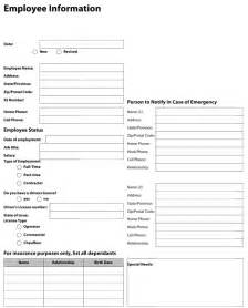 Employee Information Form Template by Pdf Templates Construction Templates