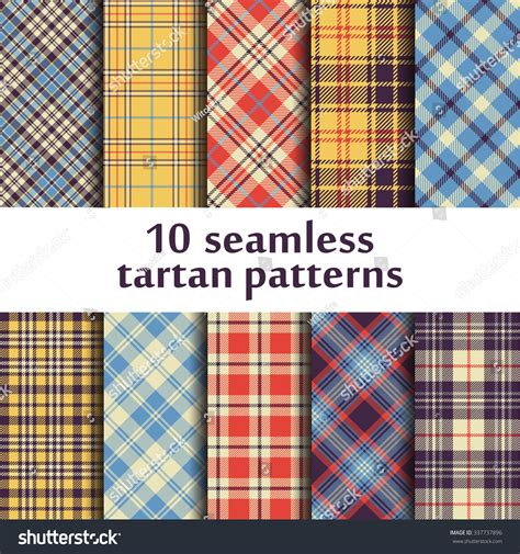 plaid pattern en espanol 10 seamless tartan patterns stock vector 337737896