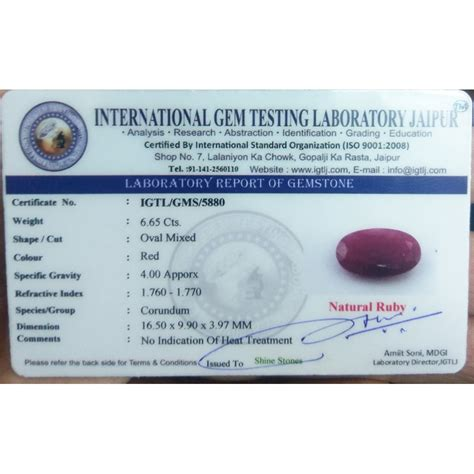 ruby 6 65 ct 6 65 ct finest quality unheated untreated