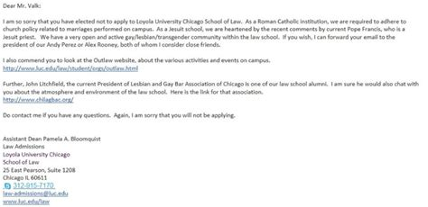 College Acceptance Letter Rescinded Loyola Chicago School Of Coach Admission
