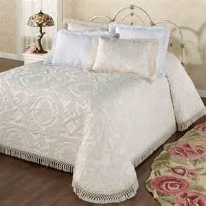 European Bed Linens - antique medallion matelasse oversized bedspread bedding