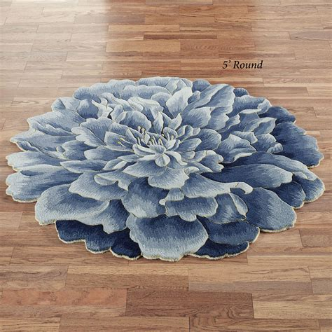 Geena Blue Flower Shaped Round Wool Rugs Flower Rug