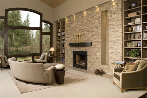 Ideen Aus Stein by Contemporary Living Room With Stacked Accent Wall