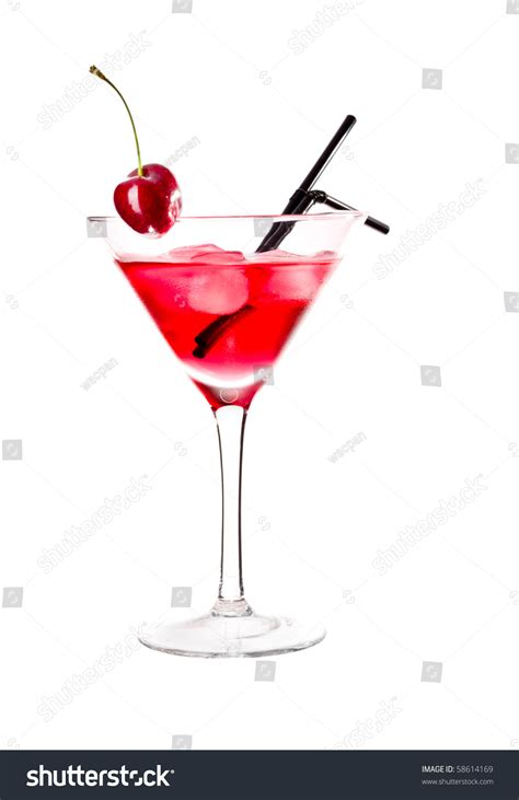 red drink in martini glass garnished with maraschino