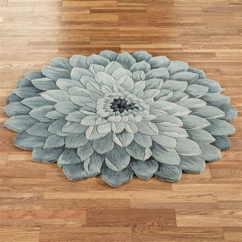 blauer runder teppich abby bloom blue flower shaped rugs