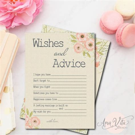 bridal shower advice game printable wishes for bridal shower printable instant download
