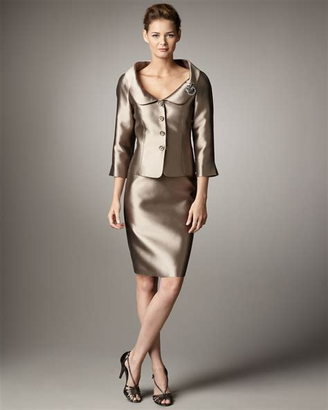 Real Pict Dress Pasmina lyst tahari shawl collar shantung suit in metallic