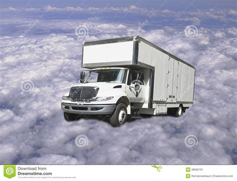 delivery truck flying  clouds stock image image
