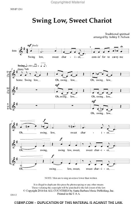 lyrics of swing low sweet chariot sheet music swing low sweet chariot ssa a cappella