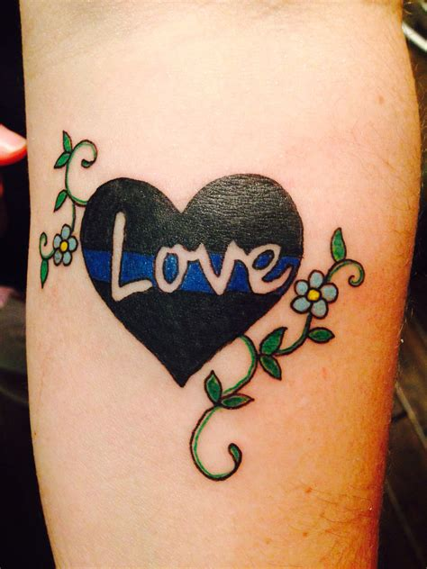 true line tattoo my new in honor for my husband the thin blue