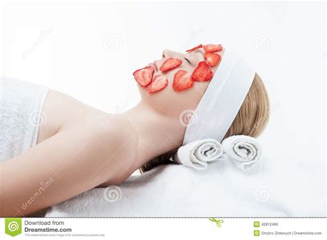 Strawberry White Mask beautiful receiving mask of stock photo image 42812466