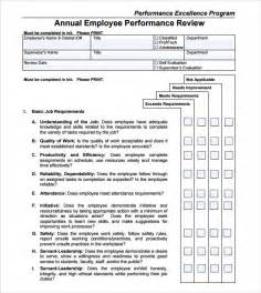 Annual Performance Review Template by Performance Review Template 9 Free Documents