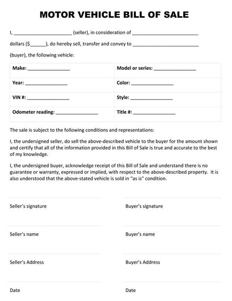 Motor Vehicle Bill Of Sale Template Free Printable Auto Bill Of Sale Form Generic