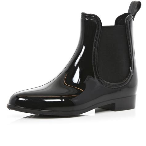 rubber boot lyst river island black high shine chelsea boot rubber