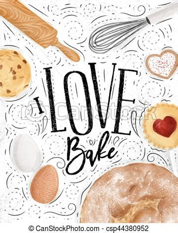 design love fest baked eggs poster love bake poster bakery with illustrated cookie